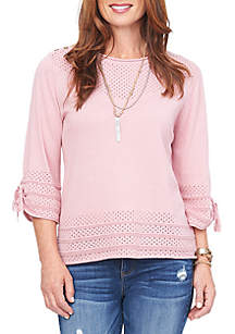 3db6ac9006e21 ... Top · Democracy 3 4 Tie Sleeve Open Weave Button Neck Sweater