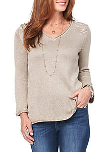 Long Sleeve Chevron Stitch Detail Sweater