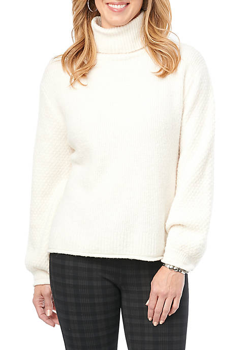 Democracy Womens Turtleneck Mix Stitch Sweater