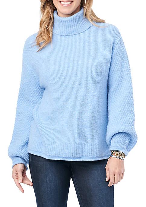 Democracy Womens Turtleneck Mix Stitch Sweater