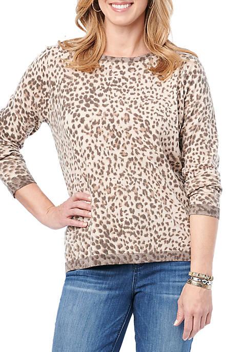 Button Back Leopard Sweater