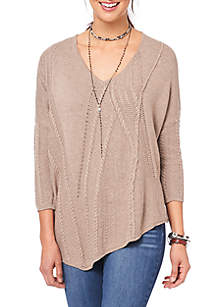 Cable Mix Asymmetrical Hem Sweater