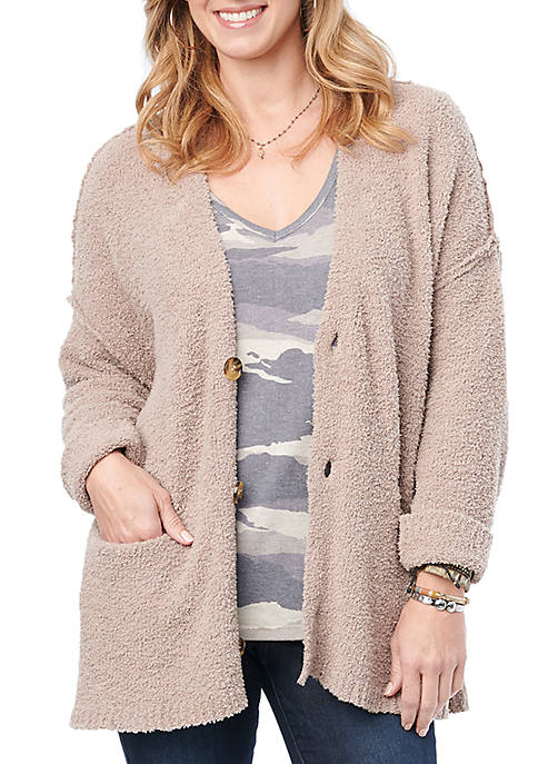 Democracy Womens Fuzzy Button Front Cardigan
