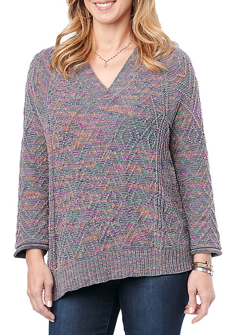 Democracy Womens Double V Chenille Sweater