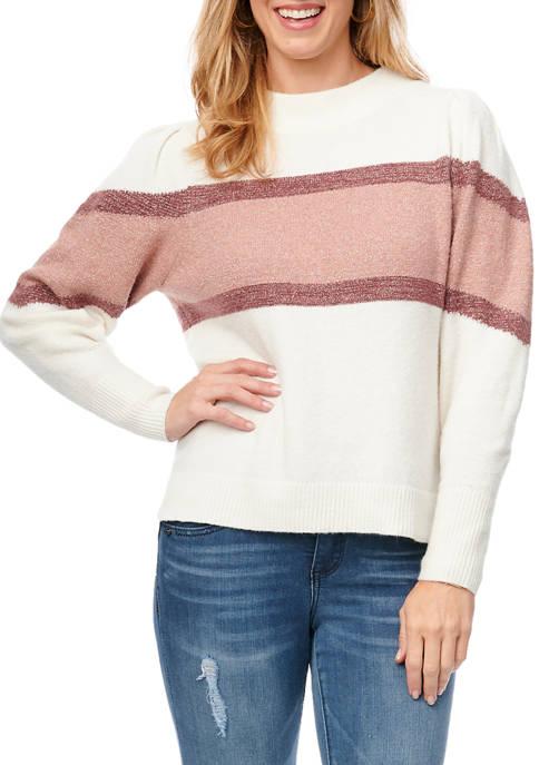 Democracy Womens Stripe Puff Sleeve Sweater