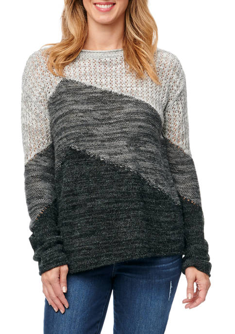 Democracy Womens Color Block Pointelle Sweater