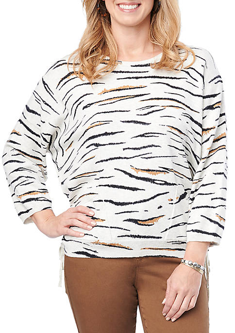 Democracy Womens 3/4 Sleeve Ruched Side Zebra Sweater