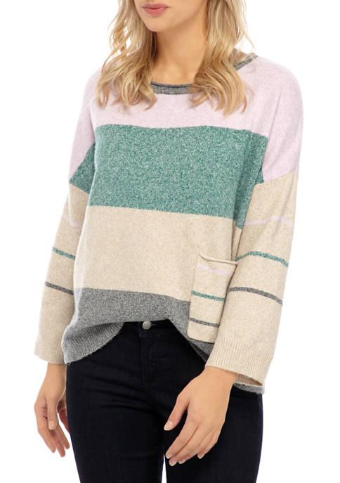 Womens Stripe One Pocket Sweater
