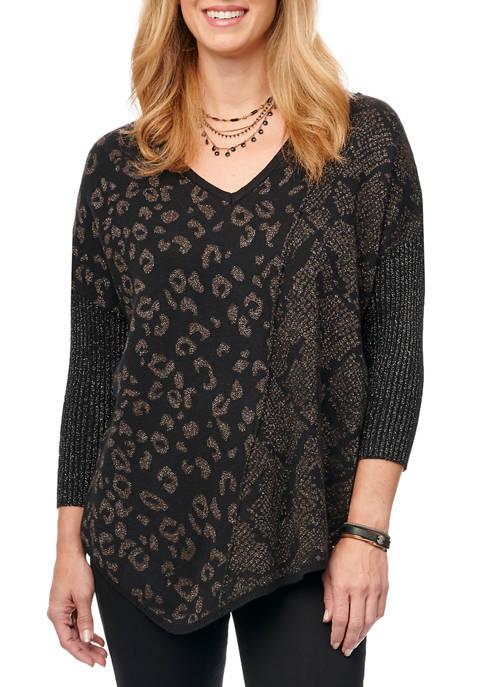 Womens Mixed Animal Sweater