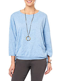 Three-Quarter Sleeve Side Ruched Sweater