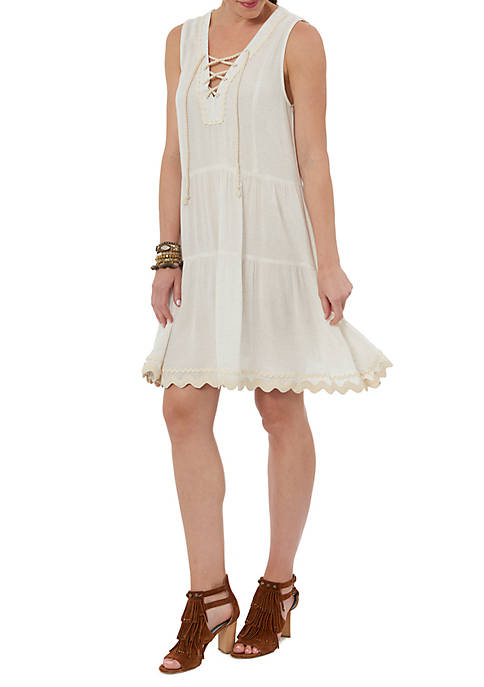 Democracy Sleeveless Ric Rac Lace-Up Double Tier Dress