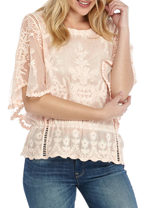 Democracy Womens Mineral Wash Crochet Butterfly Sleeve Top