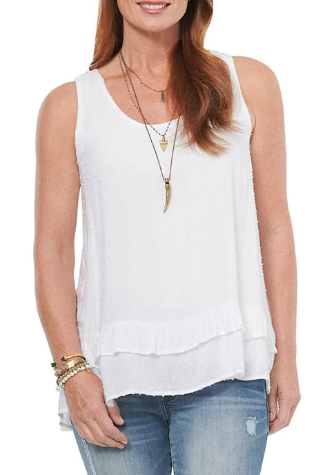 Womens Swiss Dot Double Layer Tank Top