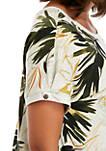 Palm Print Tie Front T-Shirt