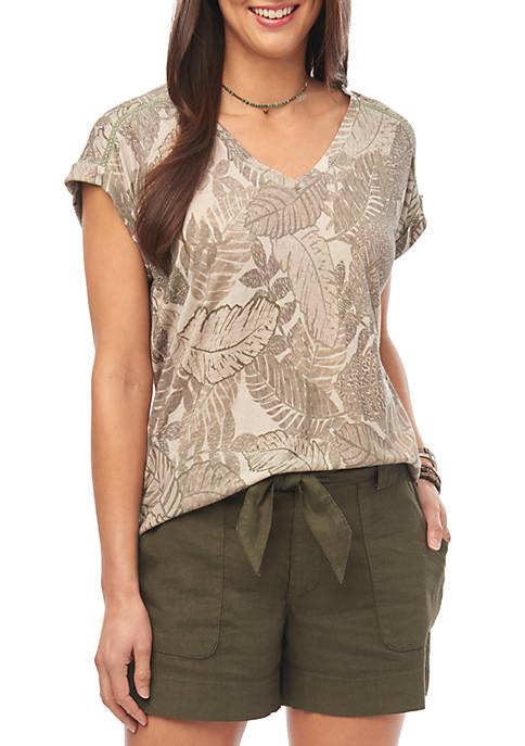 Camo Leaf V Neck T Shirt