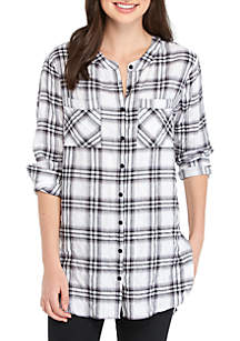Long Sleeve Button Up Plaid Shirt