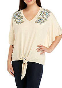 Democracy Floral Embroidered Tie Front Top