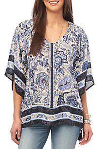 Democracy East West Border Print Top
