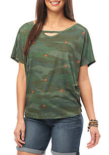 Democracy Camouflage Embroidered Dolman Sleeve Top