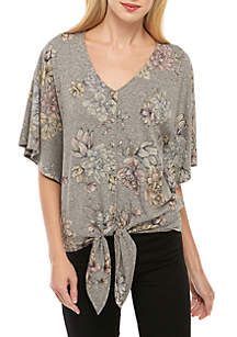 Democracy Floral Print Tie Front Dolman Sleeve Top
