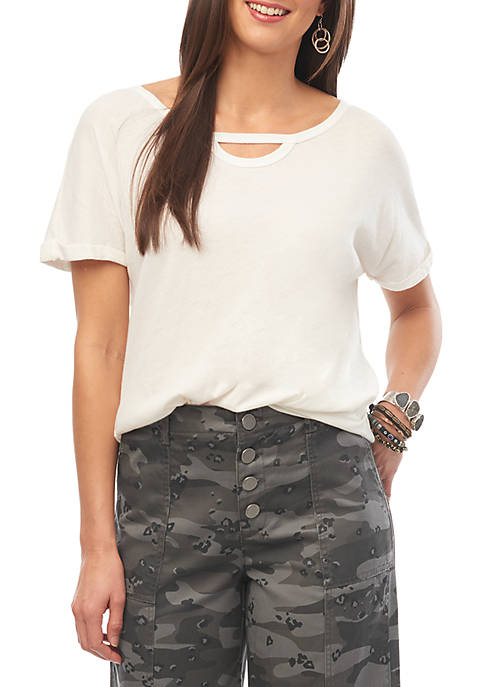 Democracy Short Sleeve Cut Out Neck Knit Tee