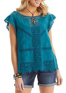 d13a49cf2e5 Democracy Flutter Sleeve Crochet Top
