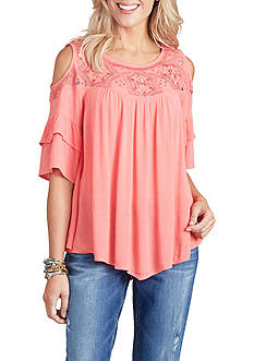 Democracy Cold Shoulder Flounce Sleeve Top