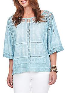 Kimono Sleeve Spliced Crochet Blouse