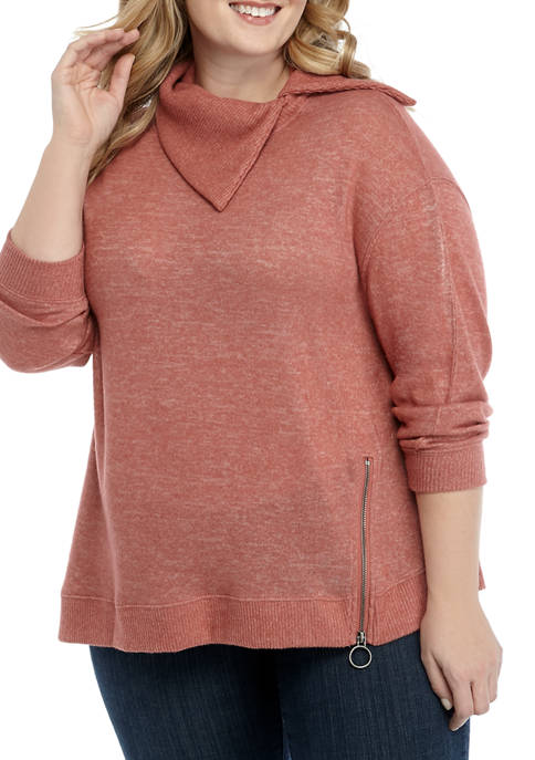 Democracy Plus Size Zip Trim Cowl Neck Sweatshirt