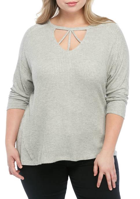Plus Size 3/4 Dolman Sleeve Cage Neck Top