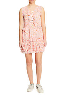 Printed Button Down Tiered Ruffle Dress