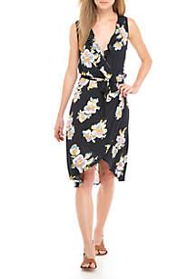 Printed Wrap Floral Dress