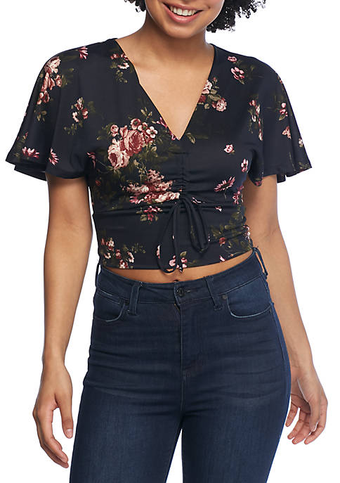 Polly & Esther Tie Front Flutter Sleeve Top