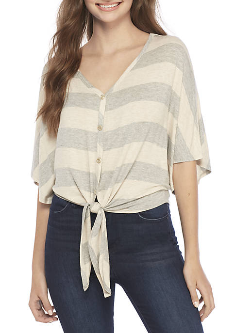 Polly & Esther V-Neck Stripe Button Tie Front