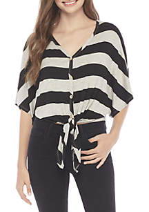 V-Neck Stripe Button Tie Front Knit Top