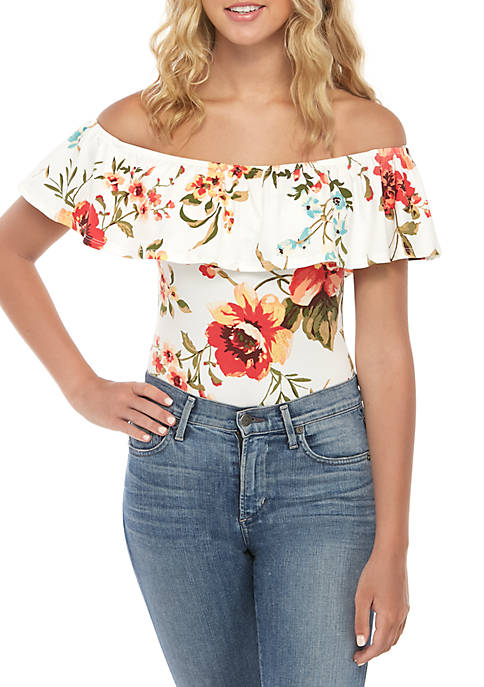 Womens Ruffle Floral Bodysuit