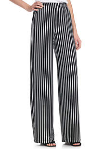 Stripe Ponte Wide Leg Pants