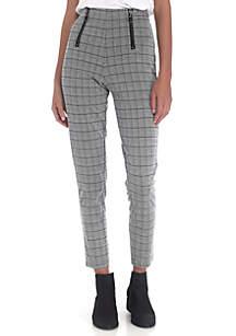 High Waist Menswear Leggings with Zippers