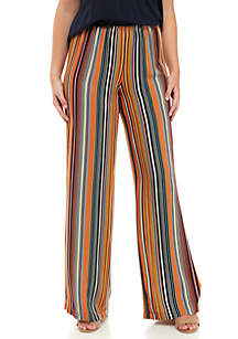 Stripe Elastic Waist Challis Pants