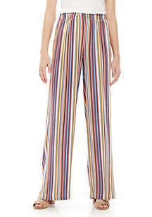 Polly & Esther Elastic Waist Challis Stripe Pants