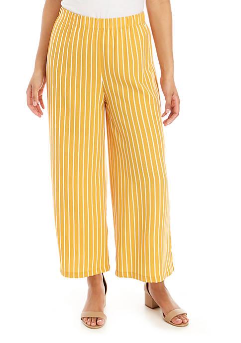 Stripe Wide Leg Crop Knit Pants