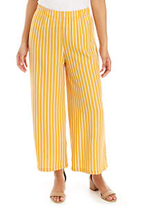 Polly & Esther Stripe Wide Leg Crop Knit Pants