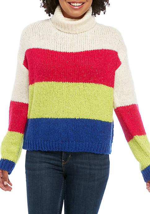 Polly & Esther Juniors Turtleneck Color Block Sweater