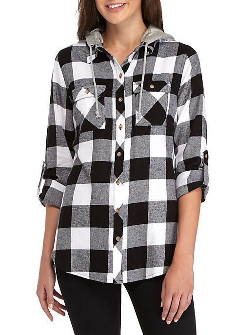 Polly & Esther Long Sleeve Pocket Front Plaid