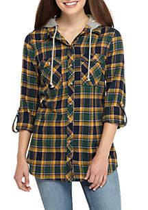 Long Sleeve Pocket Front Plaid Hoodie