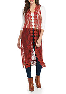 Polly & Esther Sleeveless Lace Duster