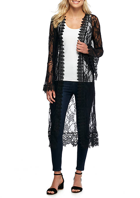 Polly & Esther Long Sleeve Lace Duster