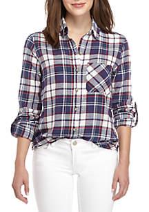 Roll-Tab Woven Plaid Shirt