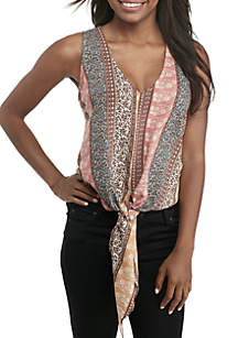 Sleeveless V-Neck Tie Front Top