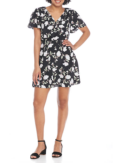 J.O.A. Floral Button-Down Dress